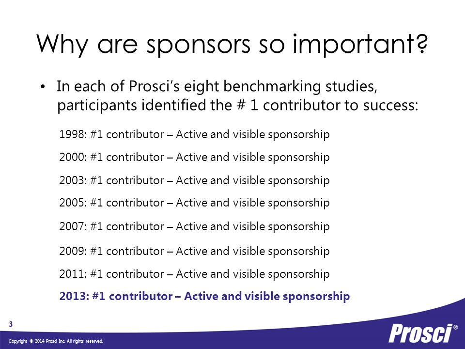Why are sponsors so important
