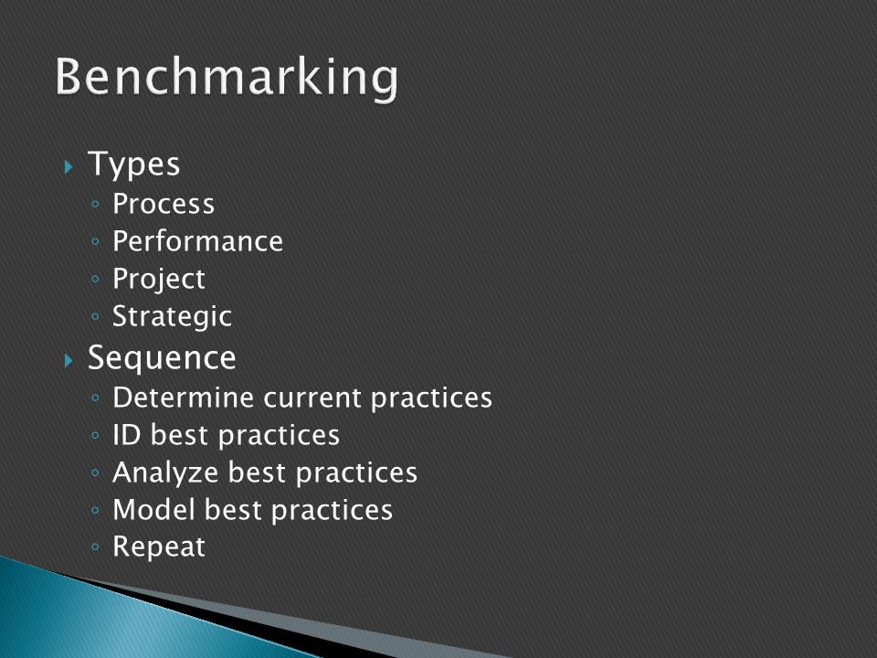 Benchmarking Types Sequence Process Performance Project Strategic