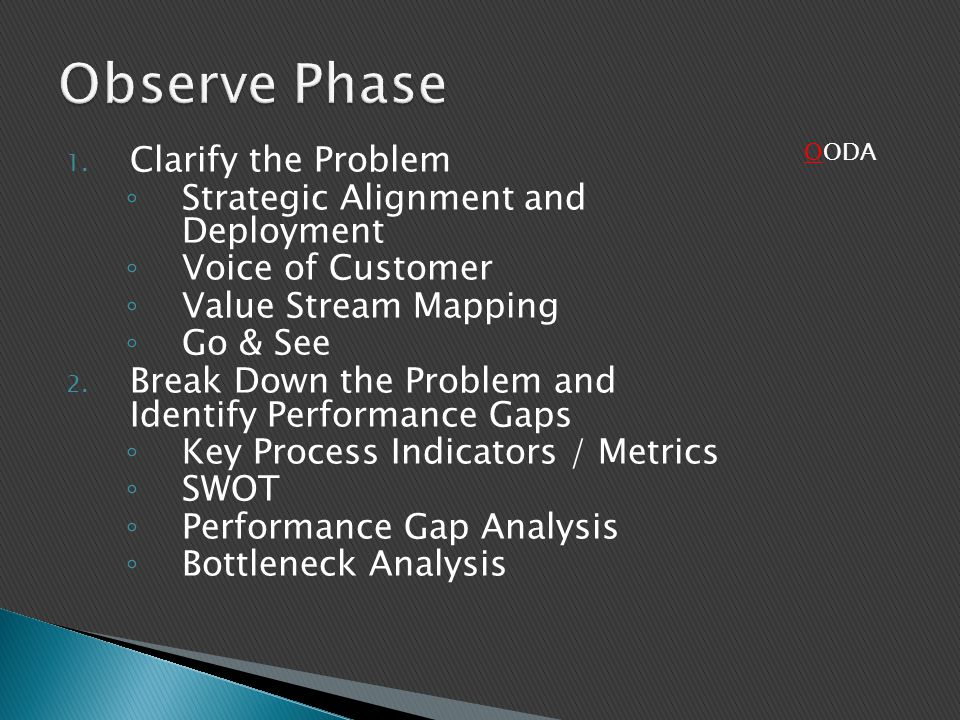 Observe Phase Clarify the Problem Strategic Alignment and Deployment