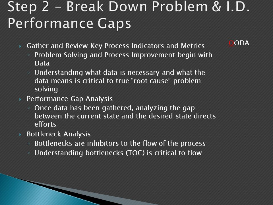 Step 2 – Break Down Problem & I.D. Performance Gaps