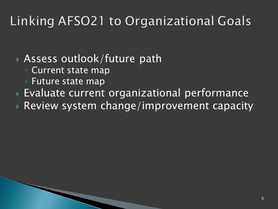 Linking AFSO21 to Organizational Goals