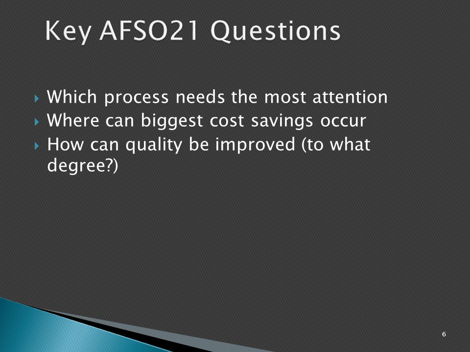 Key AFSO21 Questions Which process needs the most attention
