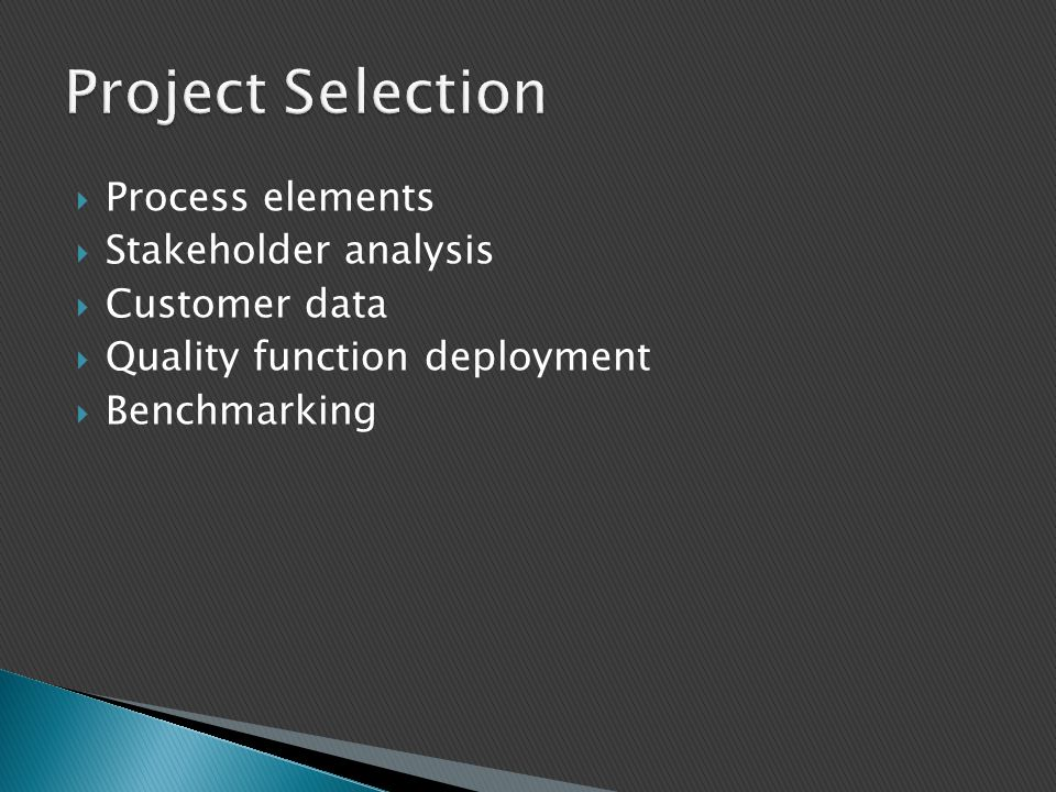Project Selection Process elements Stakeholder analysis Customer data