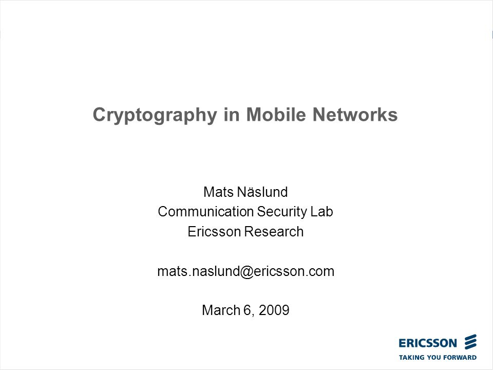 Cryptography in Mobile Networks