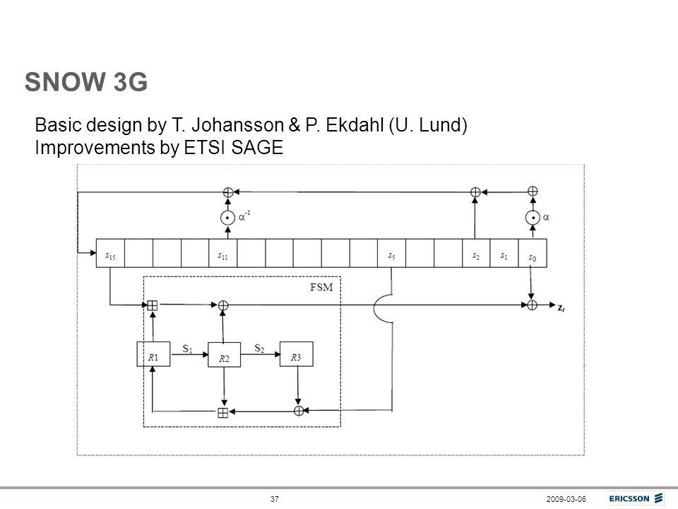 SNOW 3G Basic design by T. Johansson & P. Ekdahl (U. Lund)