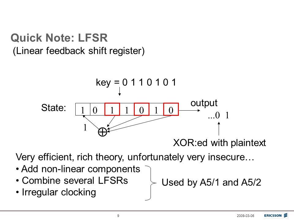  Quick Note: LFSR (Linear feedback shift register)