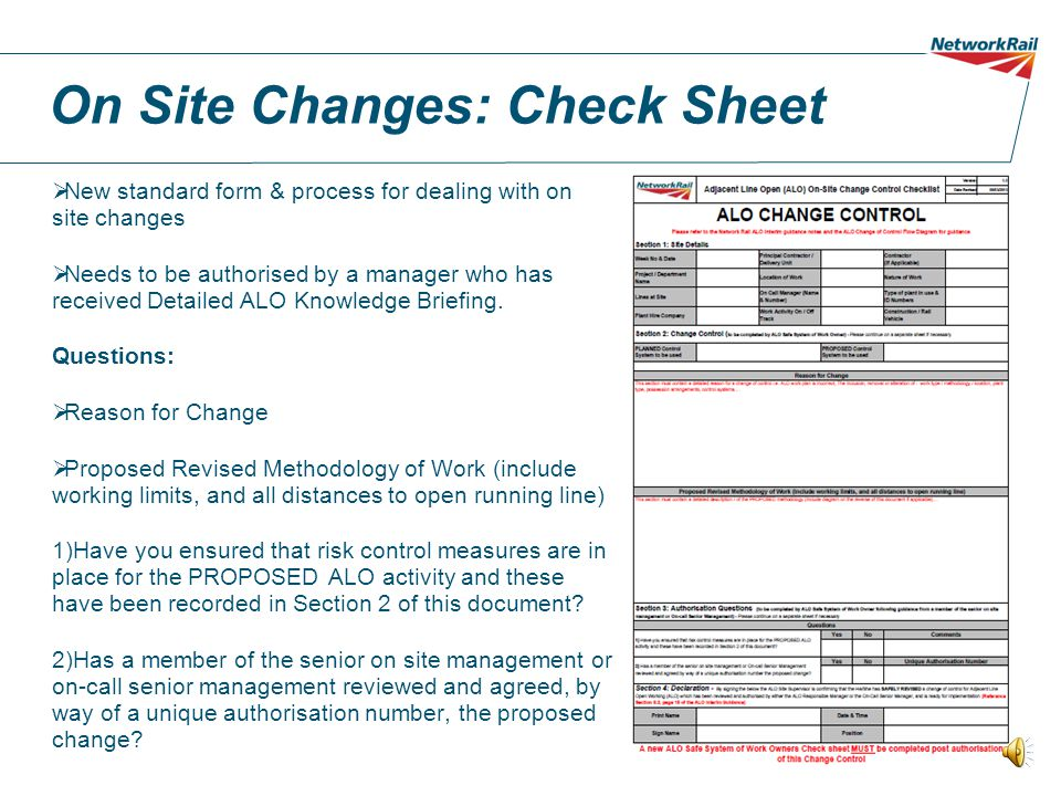 On Site Changes: Check Sheet