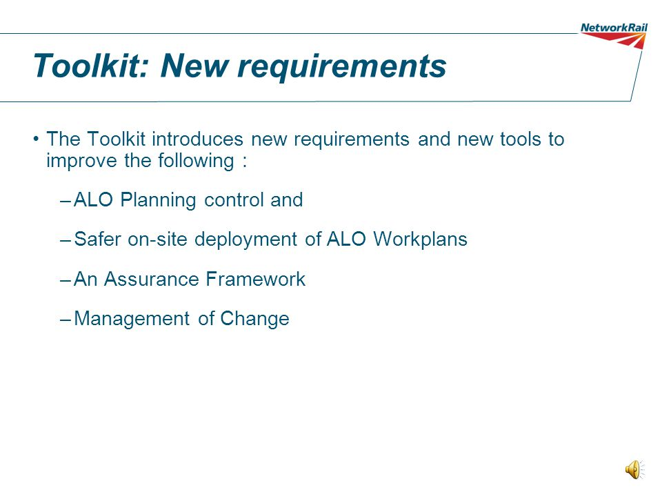 Toolkit: New requirements