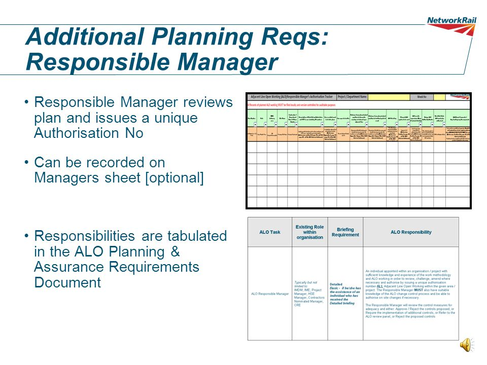 Additional Planning Reqs: Responsible Manager