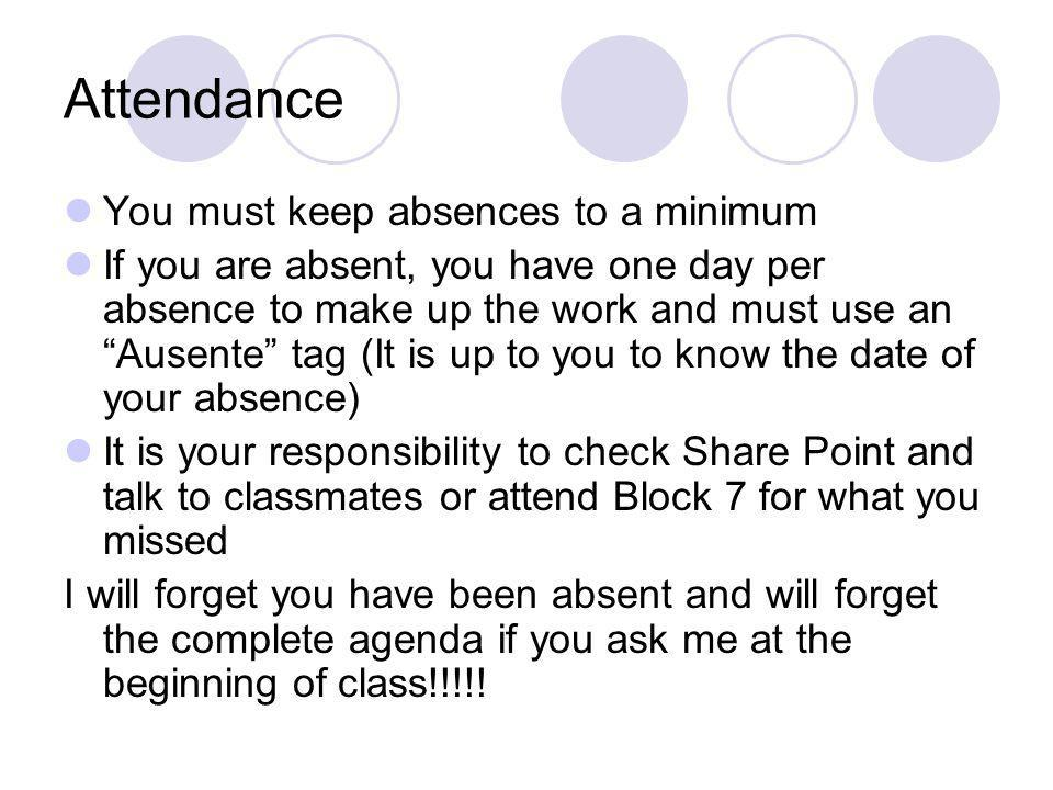 Attendance You must keep absences to a minimum