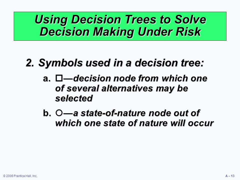 Using Decision Trees to Solve Decision Making Under Risk
