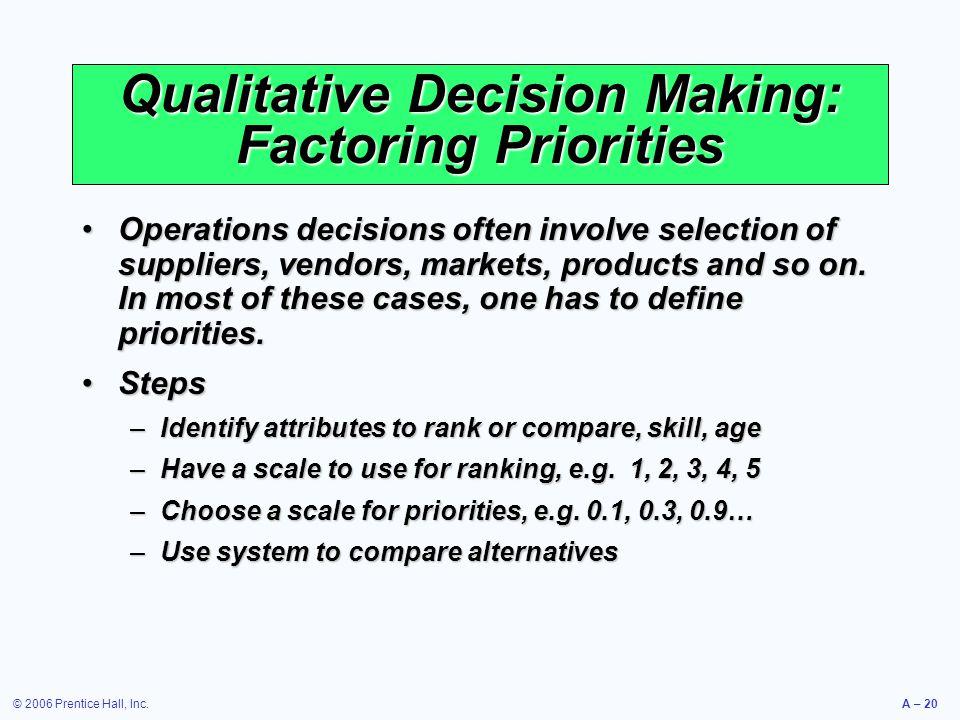 Qualitative Decision Making: Factoring Priorities