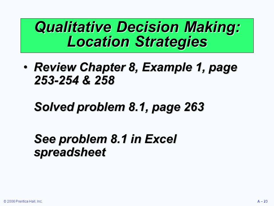 Qualitative Decision Making: Location Strategies