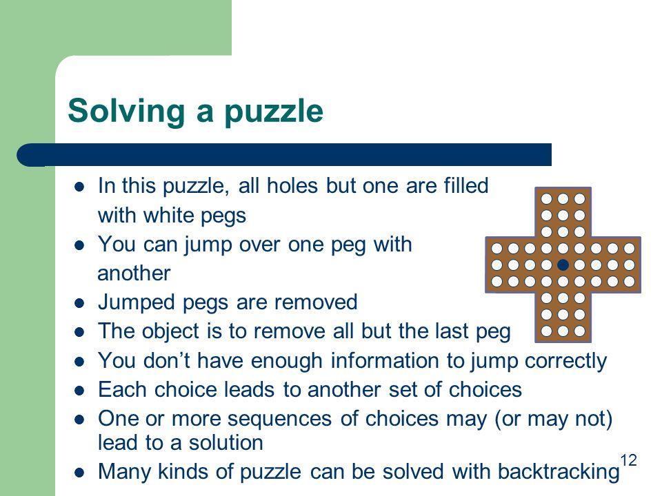 Solving a puzzle In this puzzle, all holes but one are filled