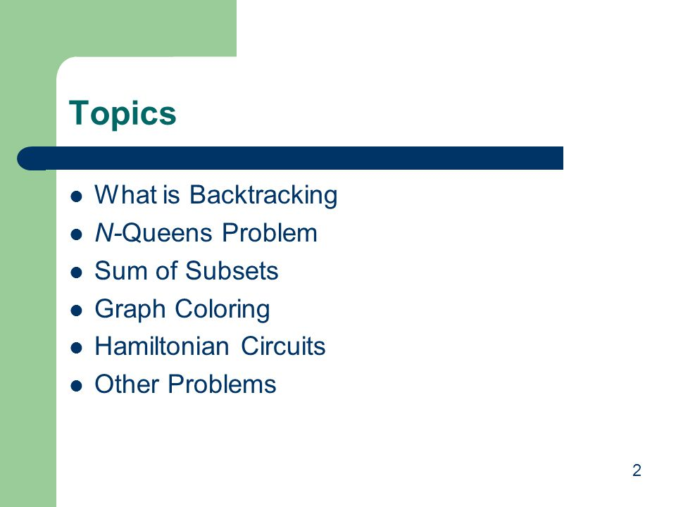 Topics What is Backtracking N-Queens Problem Sum of Subsets