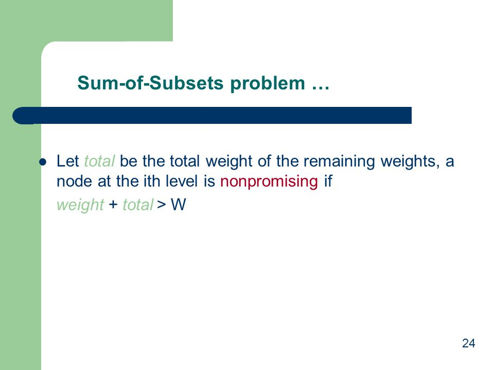 Sum-of-Subsets problem …