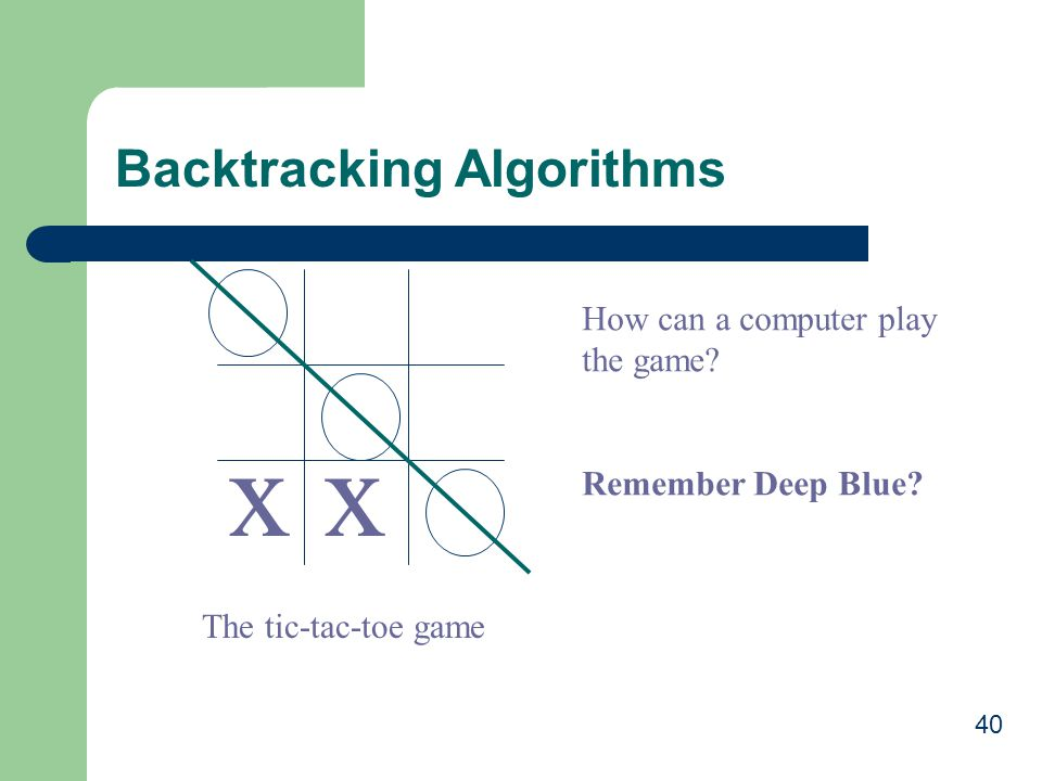 x x Backtracking Algorithms How can a computer play the game