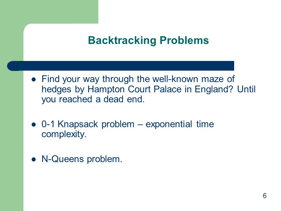 Backtracking Problems