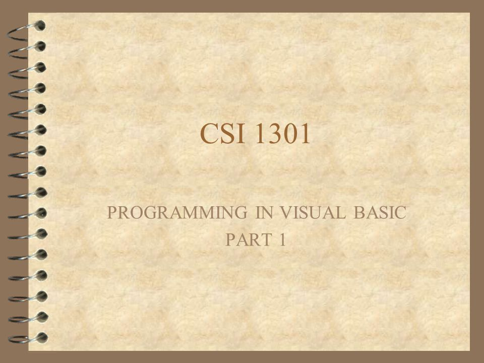 PROGRAMMING IN VISUAL BASIC PART 1
