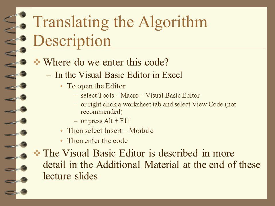 Translating the Algorithm Description