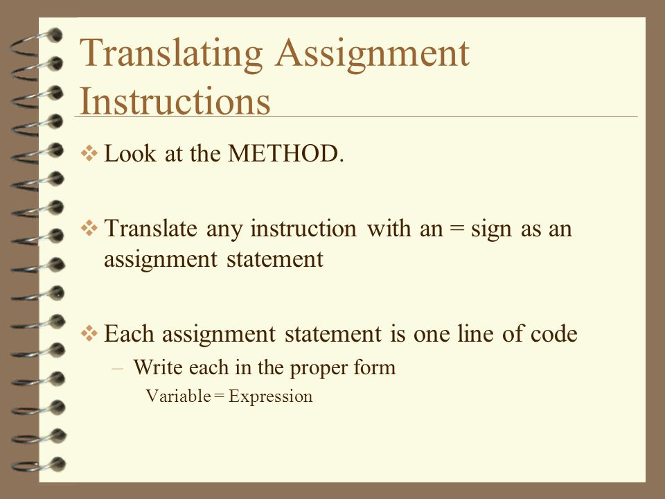Translating Assignment Instructions