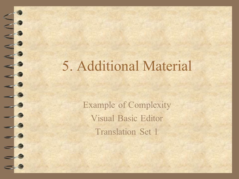 Example of Complexity Visual Basic Editor Translation Set 1