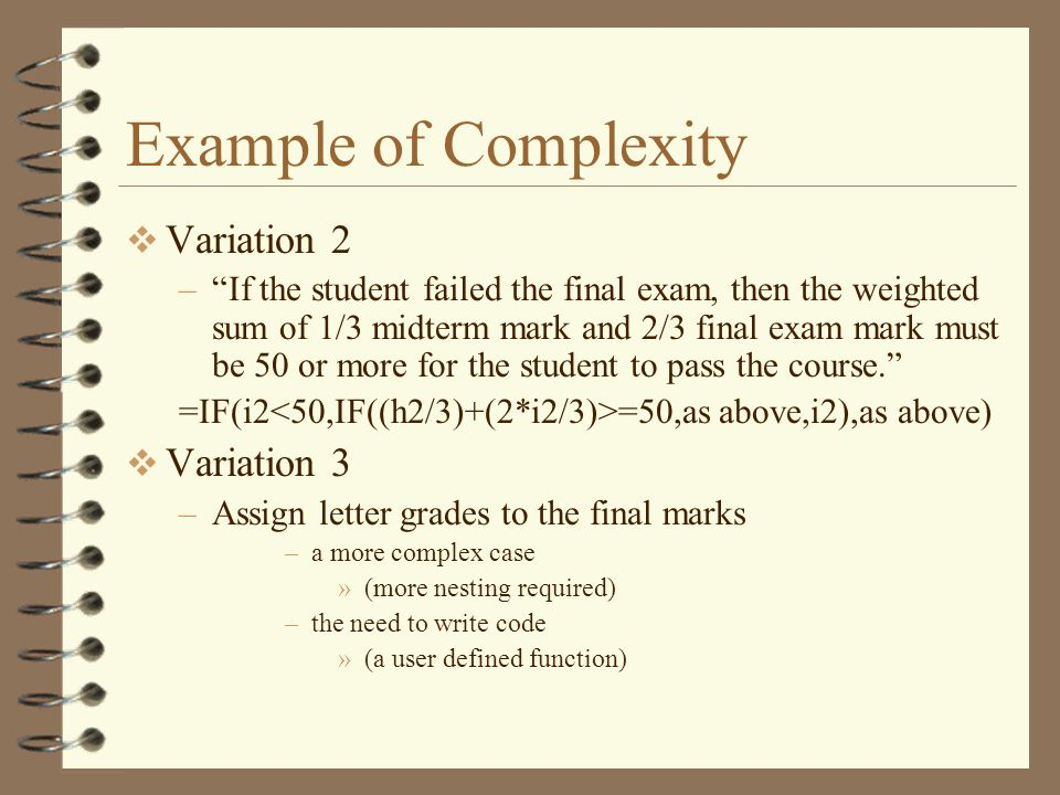 Example of Complexity Variation 2 Variation 3
