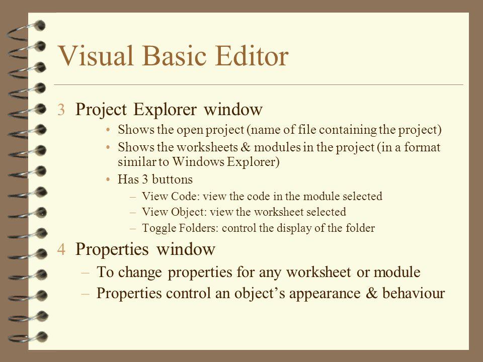 Visual Basic Editor Project Explorer window Properties window
