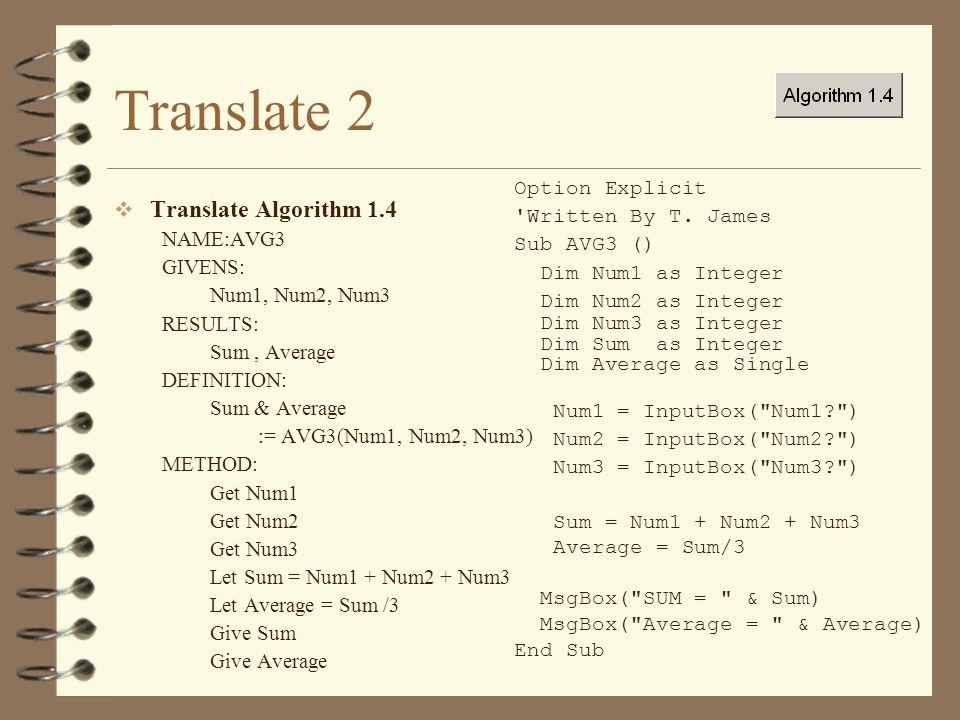 Translate 2 Translate Algorithm 1.4 Option Explicit