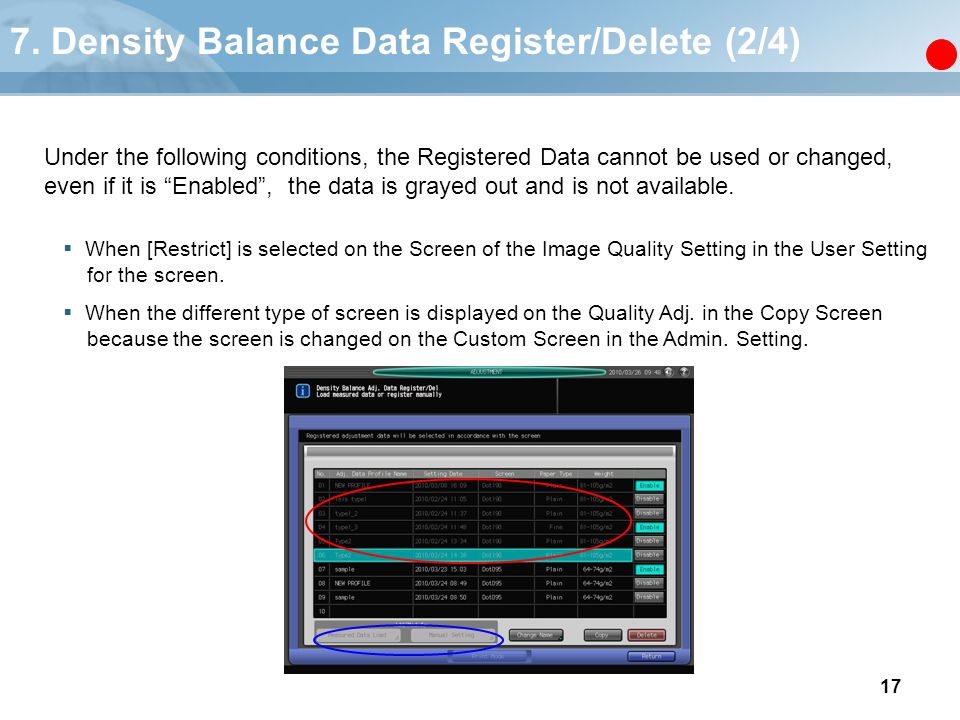 7. Density Balance Data Register/Delete (2/4)