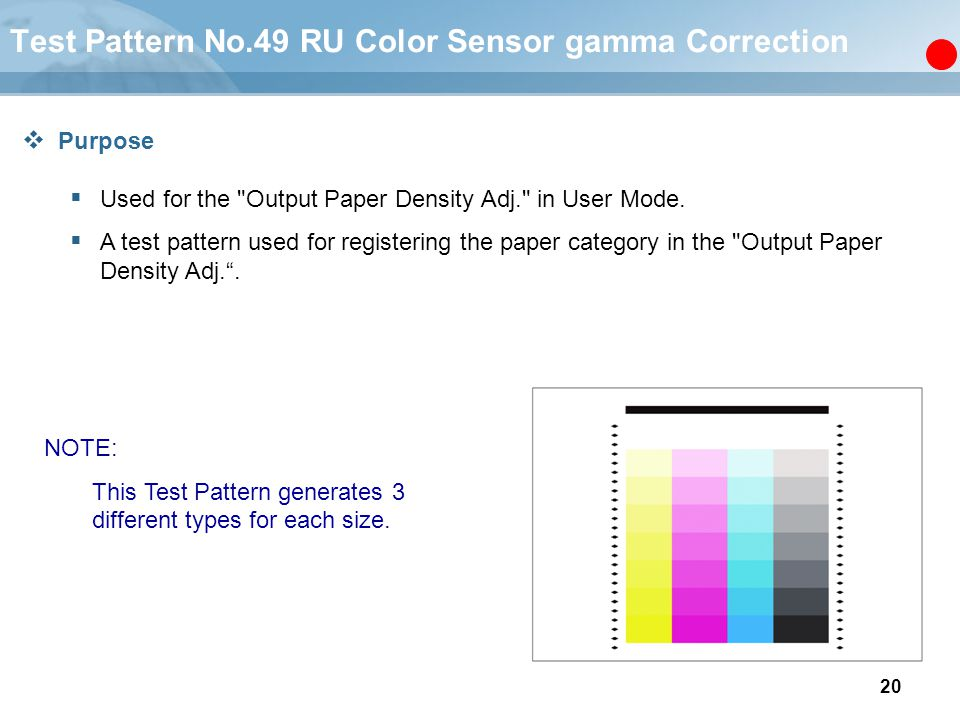 Test Pattern No.49 RU Color Sensor gamma Correction