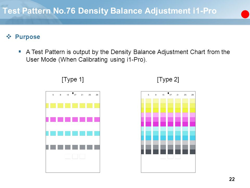 Test Pattern No.76 Density Balance Adjustment i1-Pro
