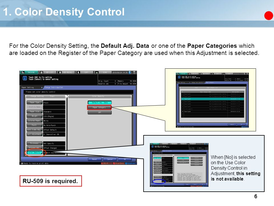 1. Color Density Control