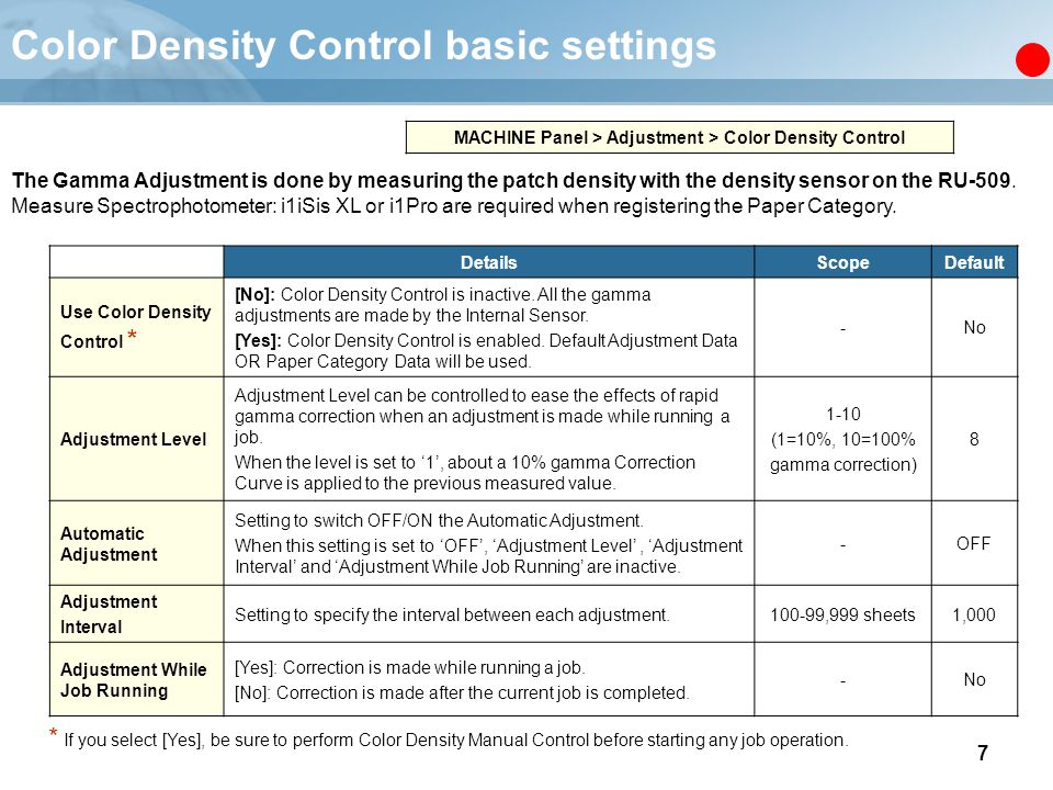 Color Density Control basic settings
