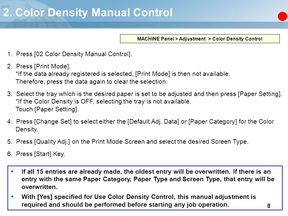 2. Color Density Manual Control