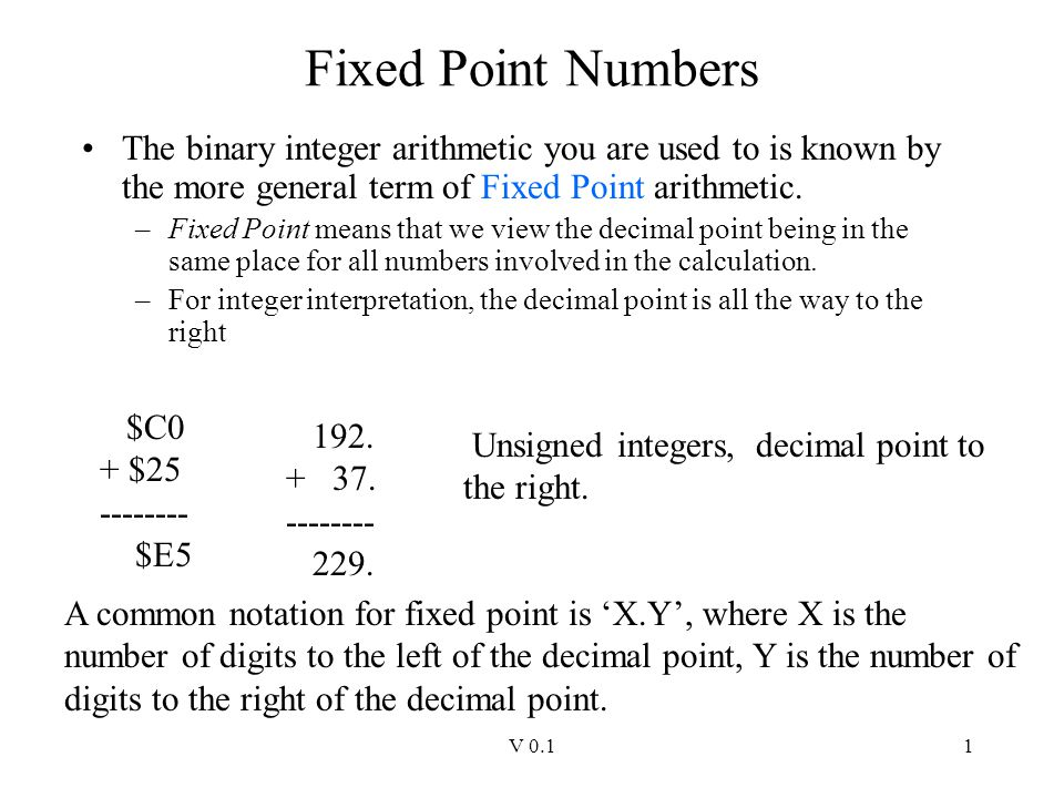 Fixed Point Numbers The binary integer arithmetic you are used to is known by the more general term of Fixed Point arithmetic.