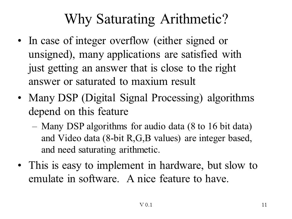 Why Saturating Arithmetic