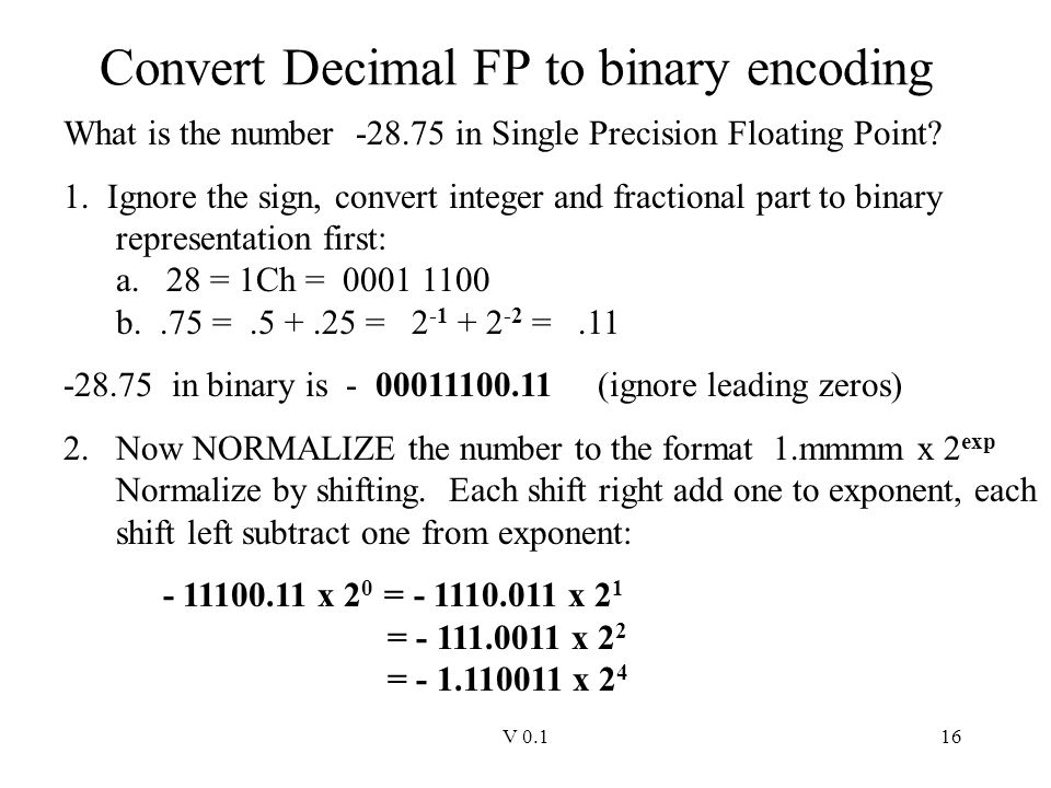 Convert Decimal FP to binary encoding