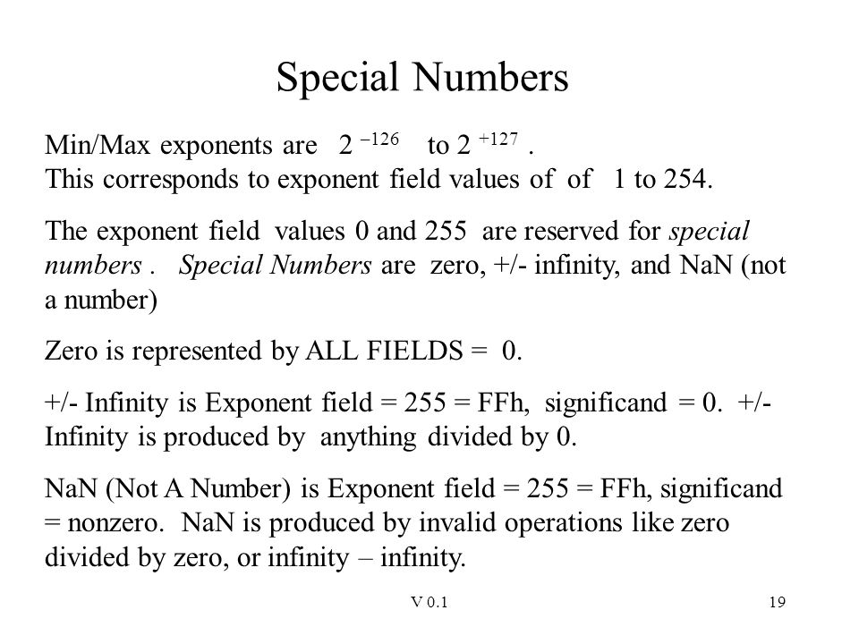 Special Numbers Min/Max exponents are 2 –126 to 2 +127 . This corresponds to exponent field values of of 1 to 254.