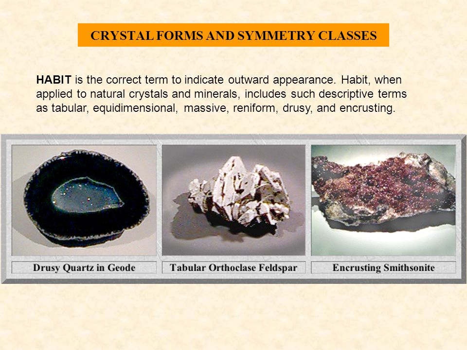CRYSTAL FORMS AND SYMMETRY CLASSES