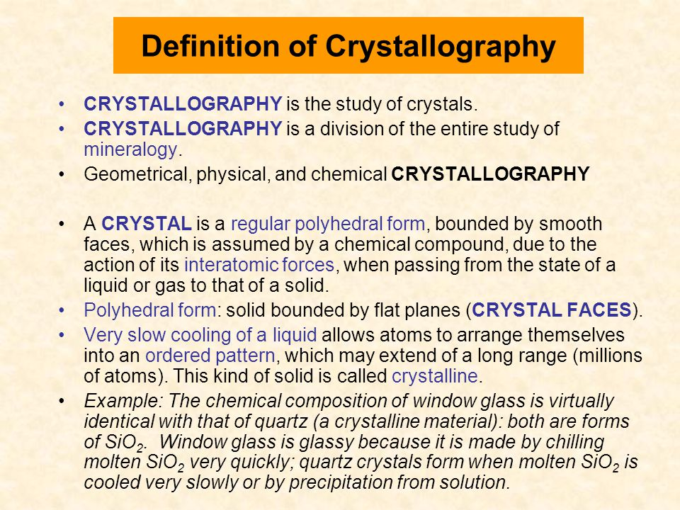 Definition of Crystallography