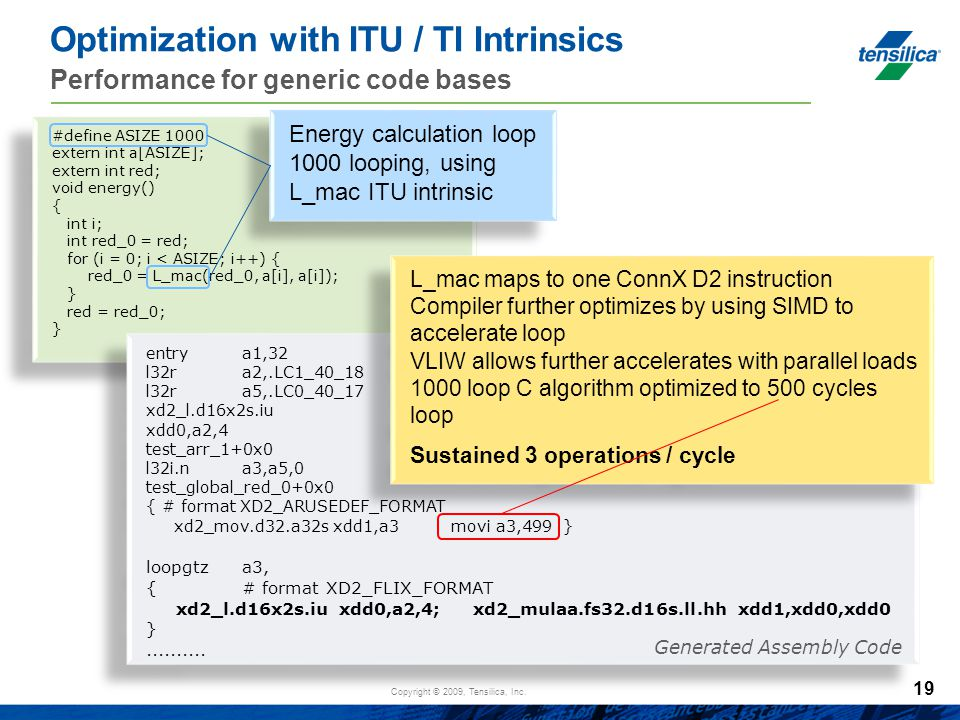 Optimization with ITU / TI Intrinsics Performance for generic code bases