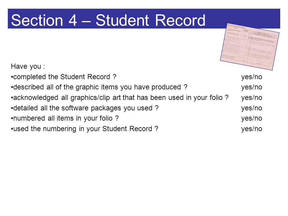 Section 4 – Student Record