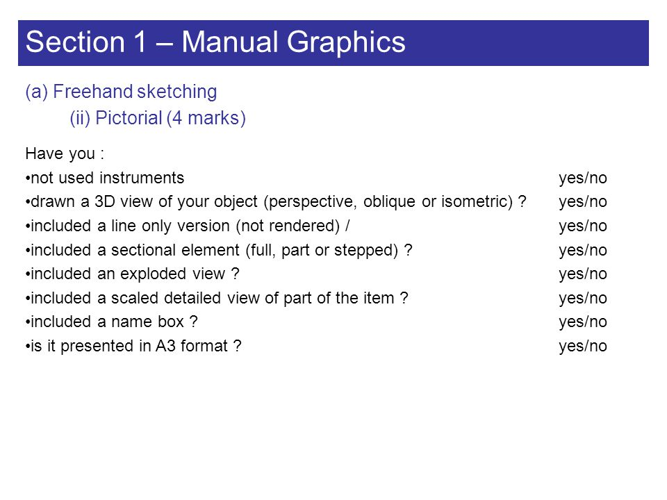 Section 1 – Manual Graphics
