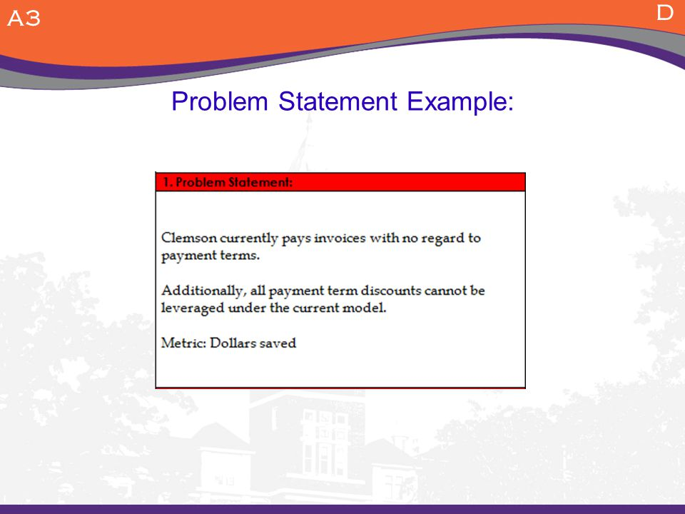 Problem Statement Example: