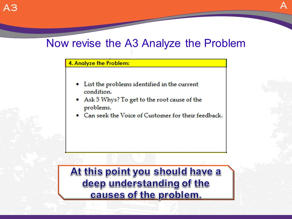 Now revise the A3 Analyze the Problem
