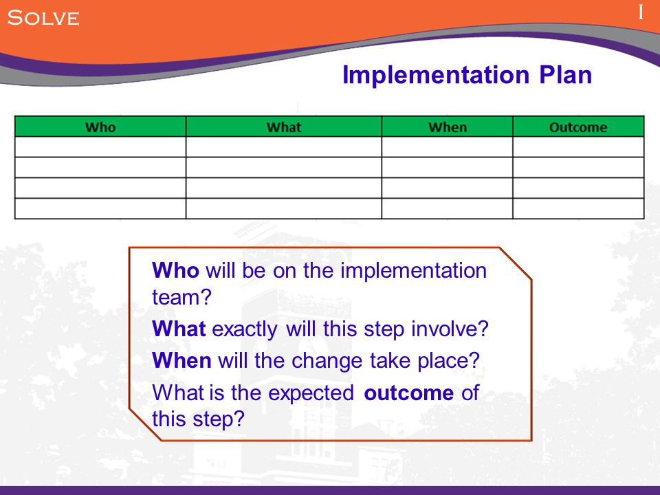Implementation Plan I Solve Who will be on the implementation team