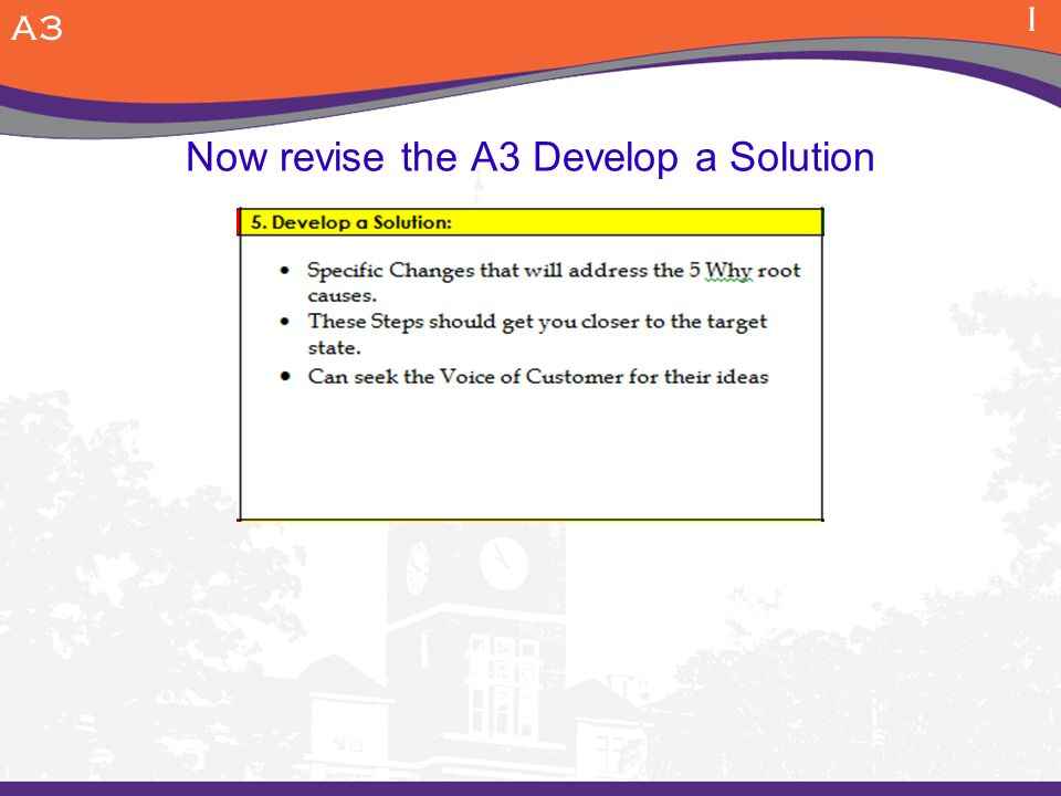Now revise the A3 Develop a Solution