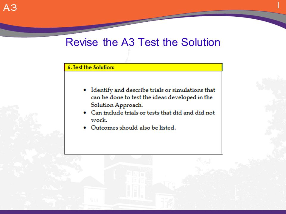 Revise the A3 Test the Solution