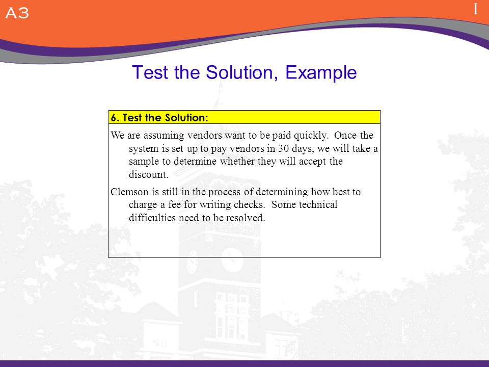 Test the Solution, Example